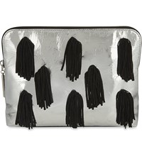 3.1 Phillip Lim Leather Cosmetic Zip Bag Silver Blk