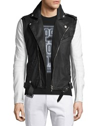 Balmain Asymmetrical Zip Moto Jacket Black White