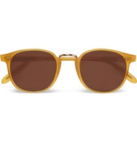 Cutler And Gross Metal Trimmed Round Frame Acetate Sunglasses Brown