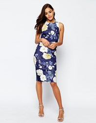 Asos Floral Scuba Crop Top Midi Body Conscious Dress Multi