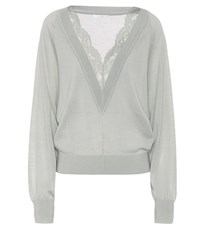 Chloe Lace Trimmed Wool And Silk Sweater Grey