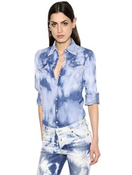 Dsquared Bleached Stretch Cotton Denim Shirt