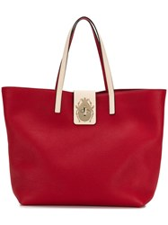 Red Valentino Beetle Twist Lock Large Tote Bag Red