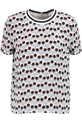Mother Of Pearl Paget Printed Silk Crepe De Chine Top Blue
