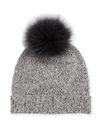 Sofia Cashmere Marbled Knit Beanie Hat W Fur Pompom Purple