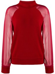 Federica Tosi Funnel Neck Contrast Sweater Red