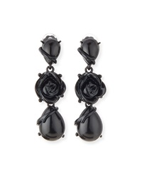 Resin Flower Drop Clip Earrings Oscar De La Renta