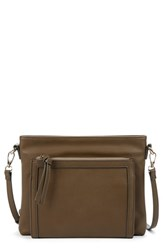 Sole Society Flat Faux Leather Crossbody Bag Beige Khaki