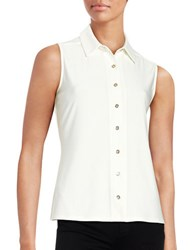 Tommy Hilfiger Button Down Sleeveless Blouse Ivory