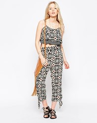Kiss The Sky Cropped Trousers With Tie Side Print Multi