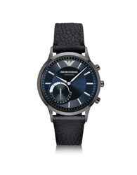 Emporio Armani Renato Connected Gunmetal Pvd Stainless Steel Hibrid Men's Smartwatch W Leather Strap Graphite