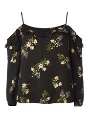 Dorothy Perkins Blossom Print Strappy Frill Cold Shoulder Top Fl Multi