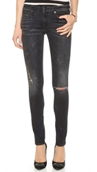 R 13 Destroyed Skinny Jeans Black Marble W Ripped Knees