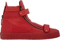 Giuseppe Zanotti Plated Strap Double Zip Sneakers Red