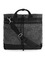 Topman Grey Premium Charcoal Faux Shearling Holdall Backpack