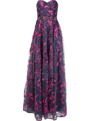 Marchesa Notte Embroidered Gown Blue