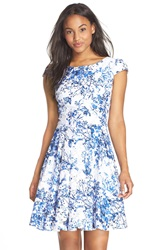 Betsey Johnson Floral Fit And Flare Dress Blue White