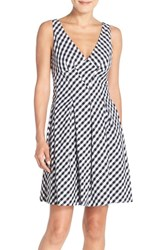 Women's Betsey Johnson Gingham Stretch Cotton Fit And Flare Dress