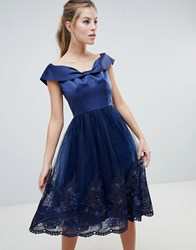 Chi Chi London Off Shoulder Midi Dress With Bow Front And Premium Lace Detail Navy