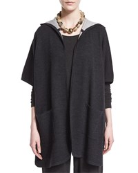 Hooded Double Knit Poncho Petite Women's Grey Eileen Fisher Charcoal