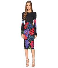 Prabal Gurung Long Sleeve Printed Knit Dress Solid Black