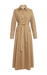 Huishan Zhang Anise Pleated Trench Coat Neutral