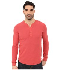 Lucky Brand Long Sleeve Waffle Henley Red Men's Long Sleeve Pullover