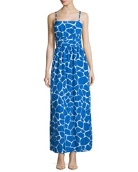 Susana Monaco Giraffe Print Pleated Maxi Dress Sapphire