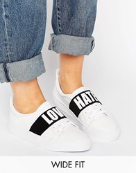 Asos Divine Wide Fit Slogan Trainers White