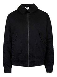 Topman Black Denim Faux Shearling Collar Flight Jacket