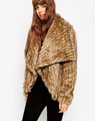 Asos Jacket With Waterfall Front In Pelted Faux Fur Brown