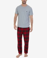 Nautica Men's Red Plaid Pajama Set Grey
