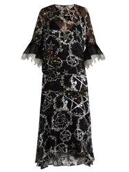 Preen Adora Pentacle Print Devore Silk Blend Dress Black Multi