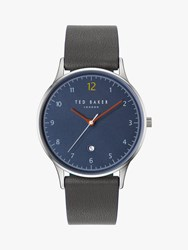 Ted Baker Te50519001 'S Ethan Date Leather Strap Watch Grey Blue