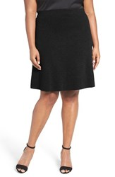 Nic Zoe Plus Size Women's 'Flirt' Textured Knit Skirt Black Onyx