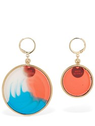 Missoni Asymmetrical Resin Disc Earrings Multicolor