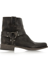 Frye Smith Distressed Leather Ankle Boots Black