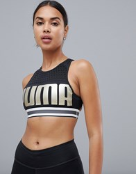 Puma Ambition Bra In Black And Gold