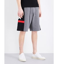Givenchy Star Detailed Cotton Jersey Bermuda Shorts Grey