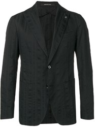 Tagliatore Striped Blazer Black