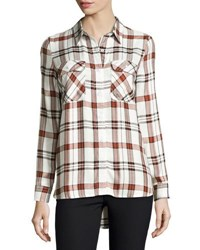 Velvet Heart May Plaid Button Front Shirt White