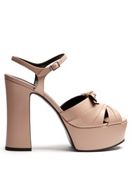 Saint Laurent Candy Leather Platform Sandals Nude