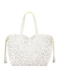 Sophia Webster Liara Canvas Laser Cut Leather Butterfly Tote Bag White Yellow