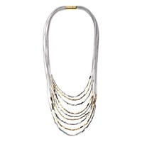 Adele Marie Cord Square Bead Layered Necklace Silver Gold