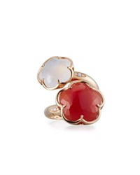 Pasquale Bruni Bon Ton Carnelian And White Quartz Bypass Ring With Diamonds
