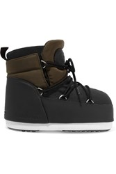 Moon Boot Buzz Shell And Faux Leather Snow Boots Army Green