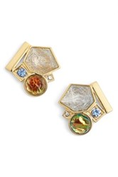Trina Turk Mix Shape Button Earrings Metallic
