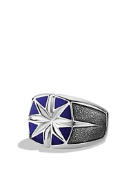 David Yurman Maritime North Star Signet Ring With Lapis Lazuli Silver