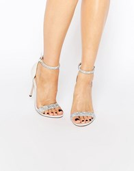 Asos Heated Bridal Embellished Heeled Sandals Ivory White