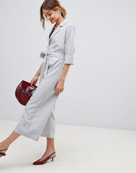 Lost Ink Tailored Jumpsuit With Tie Waist In Stripe Grey